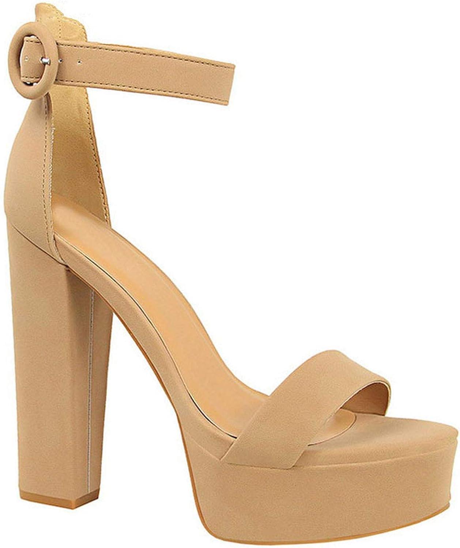 Fragrancety Platform Sandals Women Summer Buckle Strap Ladies Gladiator Sandals High Heel Flock Peep Toe