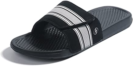 edf094014 FITORY Mens Slides, Adjustable Sandals with Arch Support Comfort Beach  Slippers