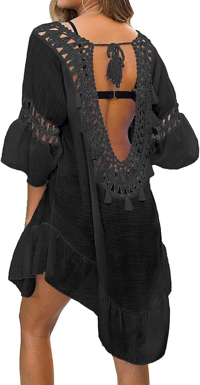 Cysincos Women Bathing Suit Cover Up Swimsuit Dress Crochet Swimwear Bikini Beach Coverups Dress