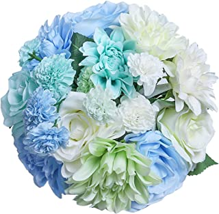 HEBE 2 Pack Artificial Rose Flower Bouquets Silk Rose Dahlia Floral Arrangement Bridal Flower Bouquets for Wedding Party Garden Home Table Centerpieces Decoration,Blue White