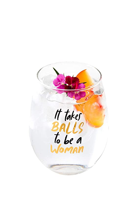 Drinking Divas - It Takes Balls to Be A Woman   Stemless Wine Glass Tumbler   Funny Gifts for Women, Mom, Best Friend, Sister, Wife, Boss, Female Coworker, Bridesmaid   Fun Christmas, Birthday Present