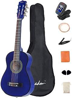 ADM نوازنده کلاسیک گیتار 30 اینچ فولاد رشته کیت بسته بندی آبی با کیسه های صوتی، تیونر، رشته ها، بند، و راهپیمایی
