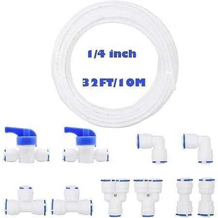 """RUNCCI-YUN Tuyau Eau 10 Mètres Réfrigérateur 1/4"""" Tubes,Raccord de Cnnecteur pour Réfrigérateur Tuyau (Y type + T type + I type + L type + Vanne d'arrêt)"""