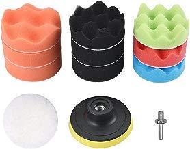 Pulido Esponja Pads, Cizen 12 Piezas Esponja Pulido Pad Kit, Compound-Polishing-auto Coche Detalle + Taladro Adaptador (80mm, Adaptador de Taladro M10)