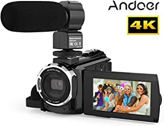 Digital Video Camera 4K,Andoer 4K 1080P 48MP WiFi Digital Video Camera Camcorder Recorder with External Microphone Novatek...
