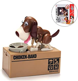 Wekity Hungry Dog Piggy Bank, Cute Dogs Steals Coins Like Magic Coin Munching Toy Money Box Birthday Gift for Kids (Brown-White)
