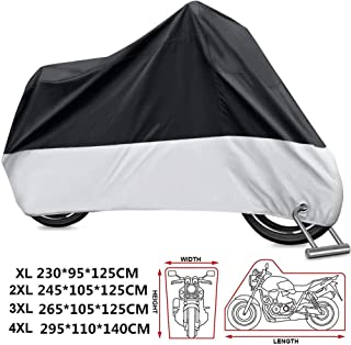 KOKOMALL Motorcycle Cover Waterproof Outdoor 210D Heavy Duty All Weather Protection Anti-UV Dust-proof Lockable Motorbike Covers Black Silver XXXXL