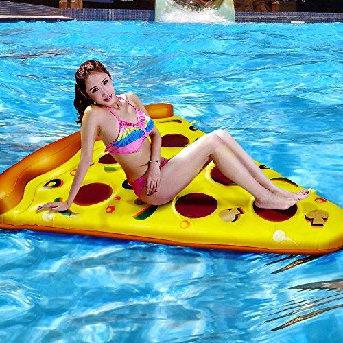 CestMall GIANT Pizza Slice Pool Float Bett aufblasbares Schwimmbecken Floating Air Kissen Haarverdichtung Neuheit Float Raft Pizza Slice PVC Floating Bett für Strand/Schwimmen/Wasser sports-yellow