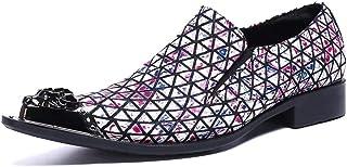 YOWAX Zapatos de los Hombres del Metal Zapatos de Cuero Principales de cuadrícula de Cuero Casual, Fiesta, Zapatos de Cuer...