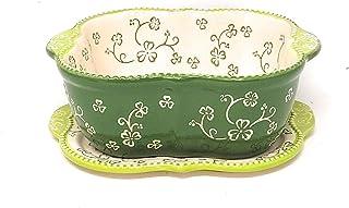 Temp-tations Baking Dish/Baker/Casserole Dish 1.5 Qt w/Lid-It (Trivet) (Floral Lace Shamrock)