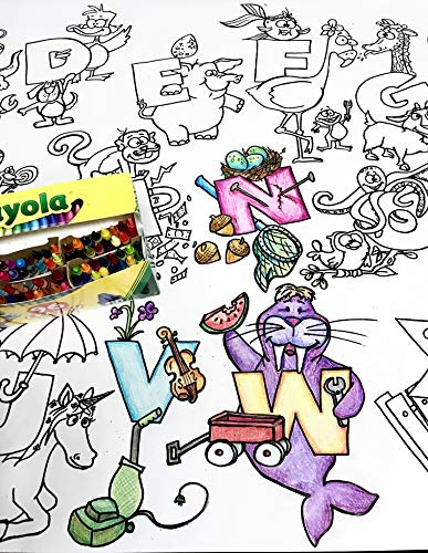 Giant 5ft Wall Size Coloring Poster 60' by 30' Huge Scene, Markers, Crayon or Paint, Quality Family Time, Birthday Party, Crafts, Events, Fun for All Ages (Alphabet)