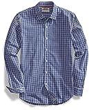 Amazon Brand - Goodthreads Men's Slim-Fit Long-Sleeve Gingham Plaid Poplin Shirt, Navy/White Micro Check, X-Large