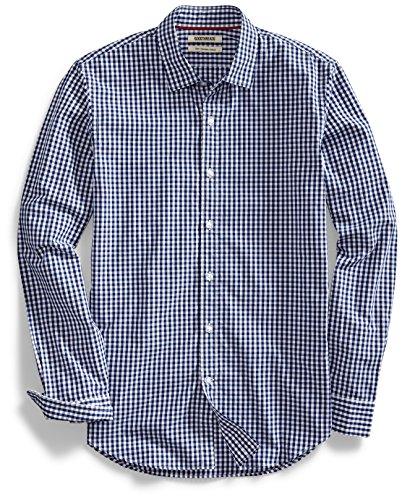 Amazon Brand - Goodthreads Men's Slim-Fit Long-Sleeve Gingham Plaid Poplin Shirt, Navy/White Micro Check, Medium