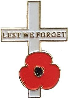 Poppy Cross Remembrance Lapel Pin Enamel Badge