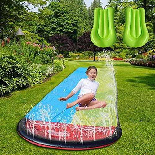 PW TOOLS Toboganes de Agua para 2 Personas para niños y Adultos, carriles de carrers Gigantes de jardín y Piscina, Juguete de Verano con rociador de tobogán de Agua Doble para Exteriores