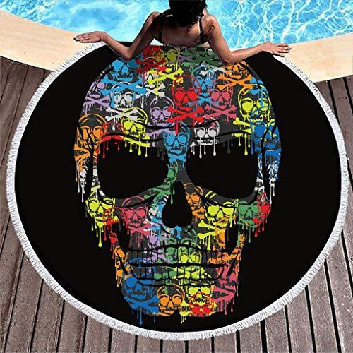 Toalla de playa con diseño de calavera, redonda, de microfibra, ligera, para playa, picnic, playa, yoga, para exteriores y viajes, color blanco, 150 cm