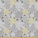 ABAKUHAUS Grau Stoff als Meterware, Stil gelbe Blume,