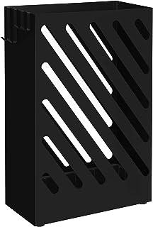 SONGMCIS Paragüero, Soporte de Paraguas, Cubo para Paraguas, Paragüero Rectángulo, Ganchos, Platos de Acumular Agua, Diseño deHueco, Negro LUC03BK