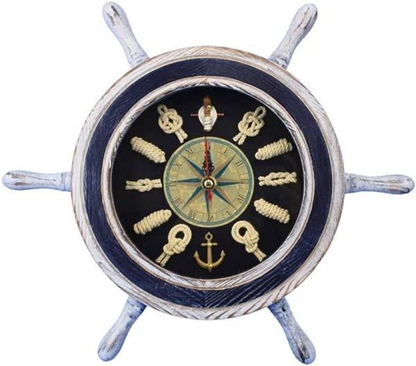 Hampton Nautical Wheel Clock 106 White And Blue Ship Wheel 12 Decorative Clocks Nautical Home
