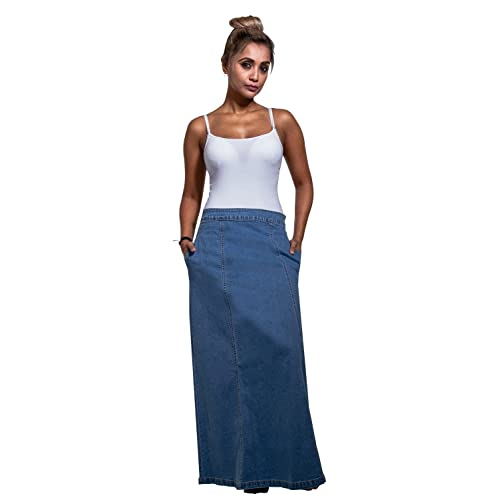 d3eeb13f25 Wash Clothing Company Matilda Denim Maxi Skirt - Palewash Long Jean Skirt  with Stretch US 10
