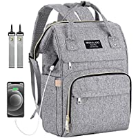 Mokaloo Large Baby Bag, Multi-functional Travel Back Pack, Anti-Water Maternity Nappy Bag Changing Bags with Insulated Pockets Stroller Straps and Built-in USB Charging Port (Gray)