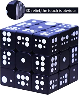 PLAFUETO White Dot Magic Cube Puzzle Toy for The Blinds Person Speed Cube 3x3x3 IQ Games Puzzles Kids Adult Toys Gifts, Easy Turning and Smooth Puzzle Game, 5.6cm/2.2