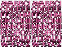(シャシャン)XIAXIN 防水 PVC製 アルファベット ステッカー セット 耐候 耐水 ローマ字 キャラクター 表札 スーツケース ネームプレート ロッカー 屋内外 兼用 TS-114-2 (2点, ピンクXブラック)