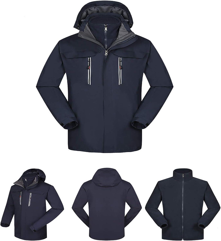 Jackets for Men Women, Unisex Warm Softshell Fleece Detachable Hooded Windproof and Waterproof Outerwear