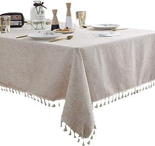 غطاء طاولة من قماش الكتان الريفي بلون عادي من Anjetan مفرش طاولة مستطيل مفرش طاولة شرابة لتناول الطعام