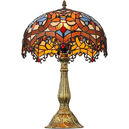 Litfad Victorian Tiffany Dome Shaped Table Lamp Stained Glass 19 H Single Light Table Lights Desk Lamp Led Bedside Nightstand Lamp In Multi Colored For Living Room Bedroom Cafe