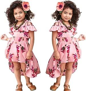 Kids Girls Summer Sling Sweet Floral Dress Elegant Girl Princess Ruffles Irregular Culotte Dresses 3-8 Year