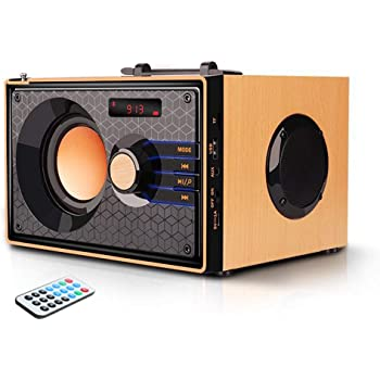 Portable Bluetooth Speakers Wireless Clear Audio Rich Bass Outdoor Party Speaker Stereo Sound Retro Desktop Speakers with Subwoofer FM Radio AUX MP3 Player Remote Control for Phone PC Android Home TV