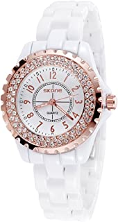 SKONE Fashion Cool Ceramic Waterproof Watchband Vintage Excellent Rhinestone Embedded Delicate Wristwatch