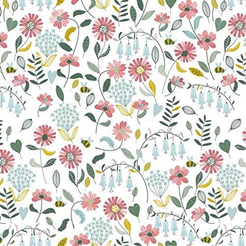 Hans-Textil-Shop Stoff Meterware Blumen Jolina Baumwolle - 1 Meter, Blumenmuster, Blumenwiese, Kleidung, Deko, Dirndl (Weiß)