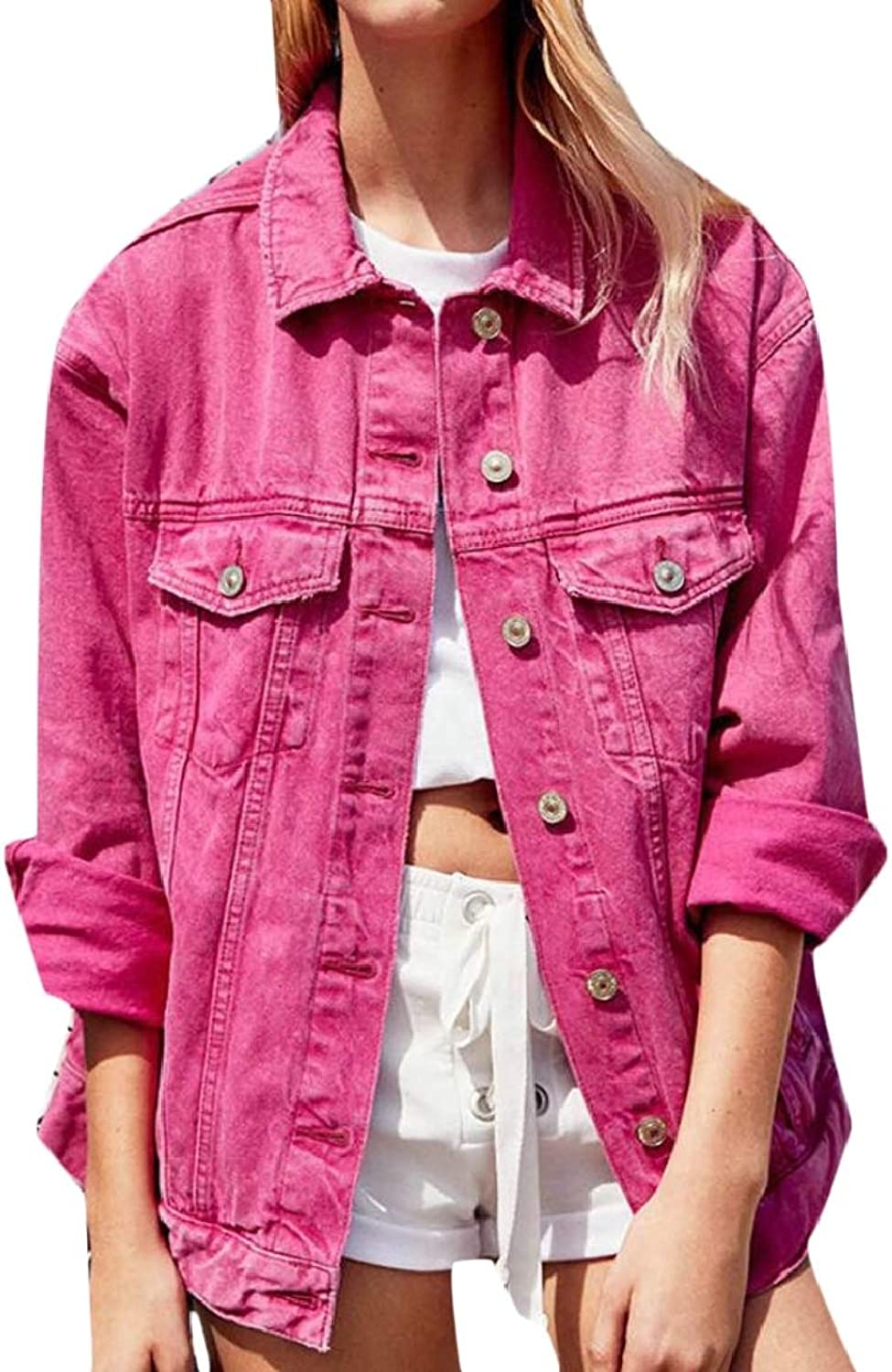LKCENCA Womens Boyfriend Jacket Denim Candy color Loose Button Down Jackets