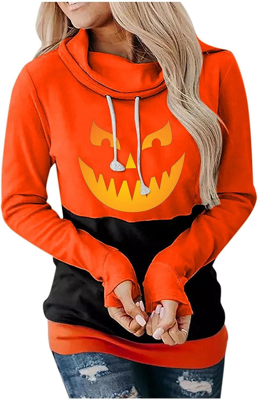 Print Sweatshirts for Women Graphic Pumpkin Halloween Sweatshirts Long Sleeve Drawstring Pullover Hoodies Tops