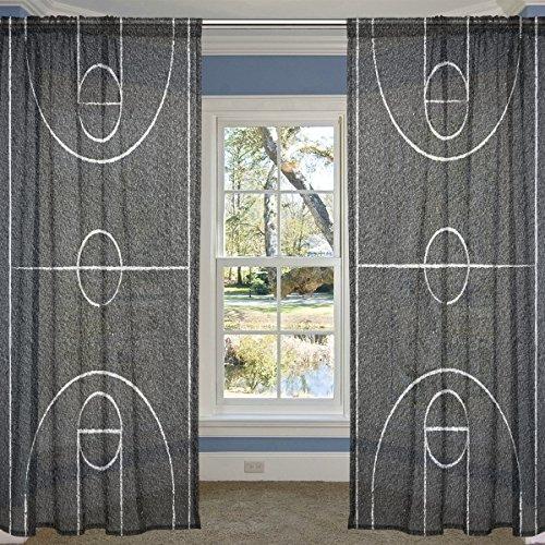 Coosun Street Basketball cour Sheer Panneaux de rideaux Tulle Polyester Voile de la fenêtre Panneau Rideaux pour chambre à coucher salle de séjour Home Decor, 139,7 x 213,4 cm, Lot de 2 panneaux, Polyester, multicolore, 55x78x2(in)