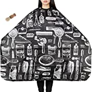 Lictin Hair Apron Hair-cutting Gown Barber Cape Waterproof Anti-static Dyeing Salon Apron for Haircut Apron Nylon Cloth with a Neck Brush Perfect for Cutting, Colouring, Highlights(Black)