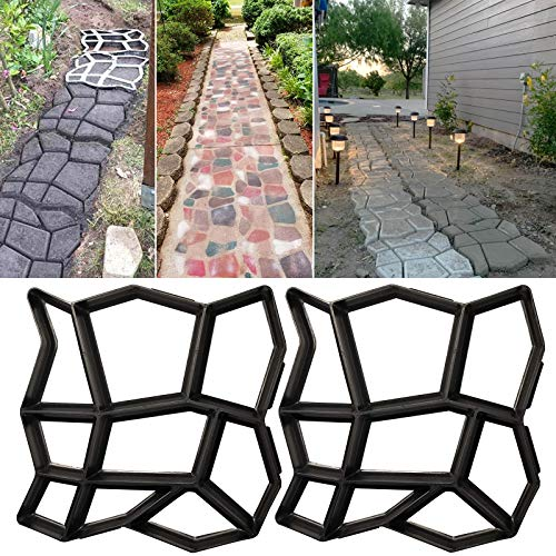 Walk Path Maker, Pathmate Stone Moldings Paving Pavement Concrete Molds Stepping Stone Paver Walk Way for Patio, Lawn & Garden(2 Packs 12.9 x 12.9 x 1.4 inch)