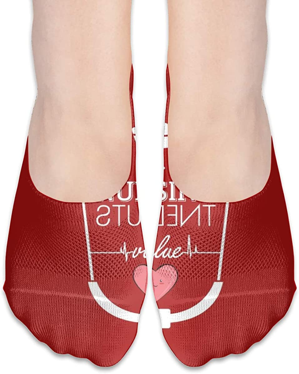 Personalized No Show Socks With Funny Nurse Stethoscope Red Print For Women Men