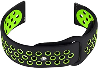 NICKSTON Black with Green Replacement Band Strap Compatible with Motorola Moto 360 2nd Gen 46mm Premium Soft Rubber Silicone with Quick Release Pins - No Tools Needed to Install