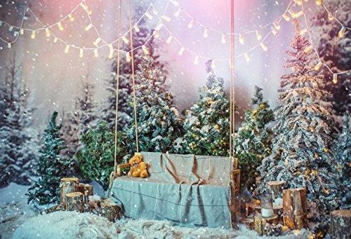Baocicco Snow Pine Trees Light Curtain Snowflake Christmas Decor Backdrop 8x6ft Photography Background Wood Tree Pier Hanging Swing Chair Fuzzy Carpet Winter Wonderland Landscape