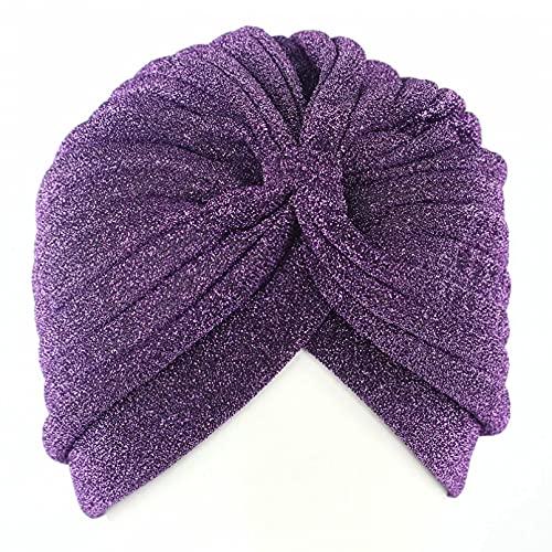 Dingyi Sombrero de Seda Brillante para Mujer, Tejido elástico, Turbante Hijab, Gorro para la Cabeza, Accesorios para el Cabello, Bufanda Gorro Dormir