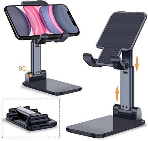 Yata Mobile Phone Holder Stand With Angle Height Adjustable For Desk Office Table Accessories Foldable Design Metal Body Compatible With All Mobile Phone Ipad Kindle Tablet