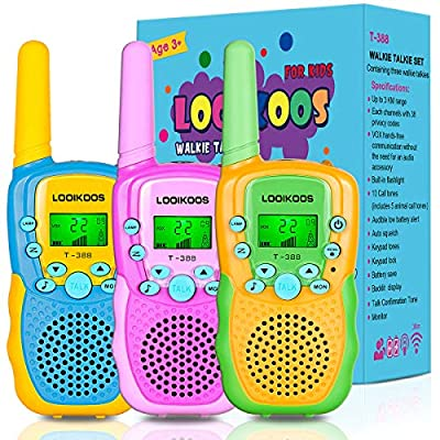 LOOIKOOS Walkie Talkies for Kids, 3 KMs Long Range Children Walky Talky Handheld Radio Kid Toy Best Gifts for Boys and Girls 3 Pack
