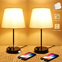 Bedside Table Lamps Set of 2, Modern Nightstand Lamps with Dual USB Ports & AC Outlet, Knob Dimmer Fabric Shade Desk Reading Lamp for Bedroom Living Room Dorm Office (UL Certification)