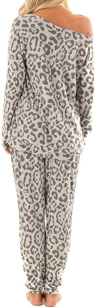 2Pcs Women Tracksuit Leopard Print Pants Sets Leisure Wear Lounge Wear Suit
