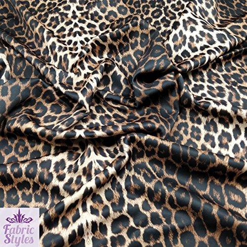 FS005_1 Stoff, Leopardenmuster, hochwertig, dehnbar, Jersey-Stoff, Meterware, Scuba, braun, 1 m