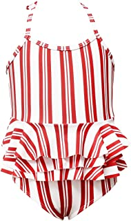 Maydear Swimsuits for Girls' one-Piece Swimwear for Girls Bathing Suits for Toddler - Stripe Red