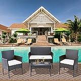 Polyrattan Sitzgruppe für 4 Personen Balkonmöbel Set Gartenmöbel-Set, Sofa & Tisch, inkl....